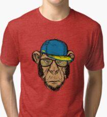 Fashion Portrait of Monkey Hipster Tri-blend T-Shirt