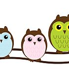 cute owls on a branch by jackpoint23