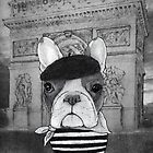 Frenchie With Arc De Triomphe (black and white) by barruf