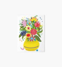 Vase with lots of flowers and a hidden bird Art Board
