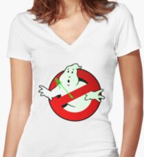 Who Busts The Ghost Busters? (logo) v3 Women's Fitted V-Neck T-Shirt