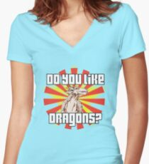 Do You Like Dragons? Women's Fitted V-Neck T-Shirt