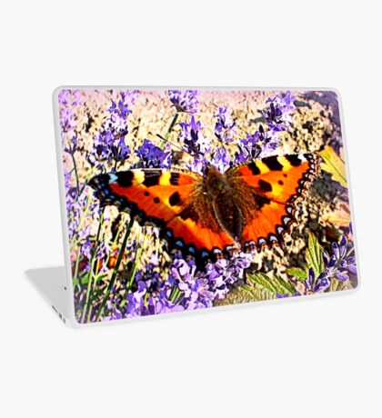 Small Tortoiseshell on Lavender Laptop Skin