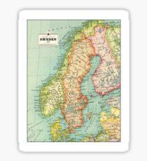 Vintage 1915 Sweden map - unique gift idea Sticker