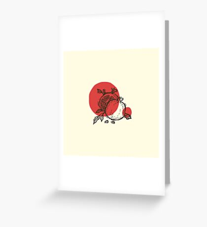 Pomegranates linocut Greeting Card