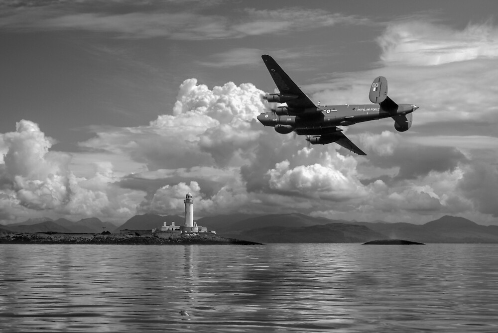 Shackleton over Lismore lighthouse B&W by Gary Eason