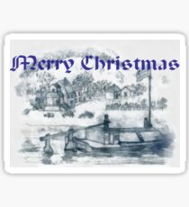 A computer enhanced pencil drawing of Romanian Ancient Family Rowing Barge for Christmas  Sticker