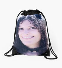 Vinylone and the Girl with fabulous smile, curls and cute eyes made by Blunder Drawstring Bag