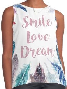 Feathers, Smile, love, dream Contrast Tank