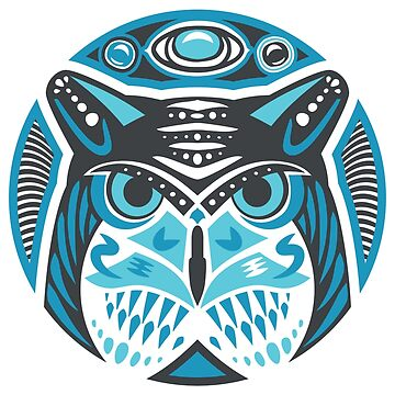 Owl Shamanic Animal Emblem - Grey Blue by Quire