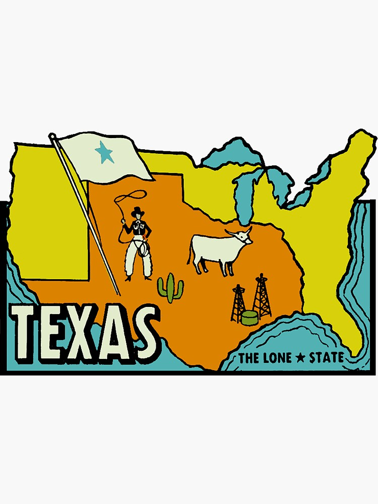 Texas Map Vintage Travel Decal by hilda74