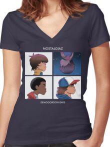 Stranger Things Nostalgiaz Women's Fitted V-Neck T-Shirt