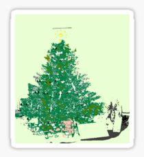Mom's Christmas tree with bulbs on green XMAS20 Sticker