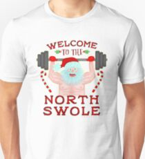Funny Christmas Santa Claus North Swole Weightlifter T-Shirt