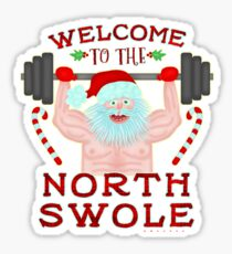 Funny Christmas Santa Claus North Swole Weightlifter Sticker