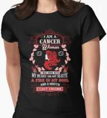 Cancer woman with my heart on my sleeve a fire in my soul and a mouth Womens Fitted T-Shirt