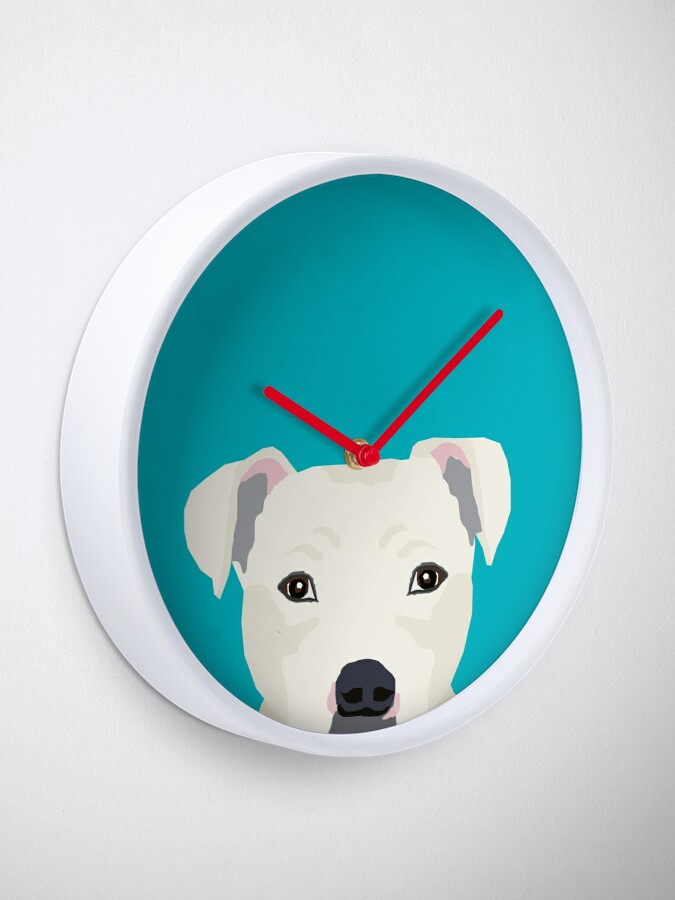 Alternate view of Pitbull pet portrait dog breeds pet friendly dog art unique gifts for dog lover Clock