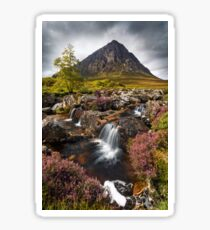 Buachaille Etive Mor and Heather. Glencoe. Highlands of Scotland. Sticker