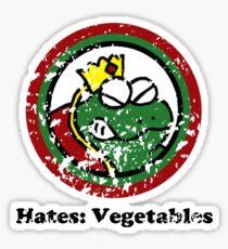 Hates: Vegetables (Battle Damage) Sticker