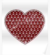 Vintage Anchor Pattern Red Heart, Distressed Nautical Poster