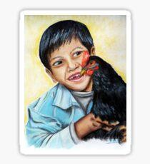 Garçon Népalais et son coq Sticker