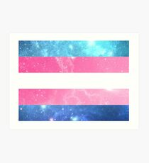 Trans Flag - LGBTQ Galaxy Art Print