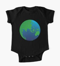 World globe with Australia India Asia and the Middle East One Piece - Short Sleeve