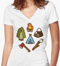 Camping is cool Women's Fitted V-Neck T-Shirt