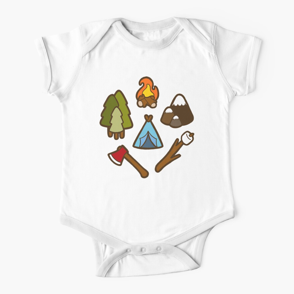 Camping is cool Short Sleeve Baby One-Piece