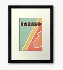 Bonobo - Retro four-coloured line drawing Framed Print