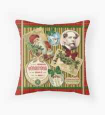 Christmas Carol Charles Dickens Traditional Plaid Classic Quote Throw Pillow