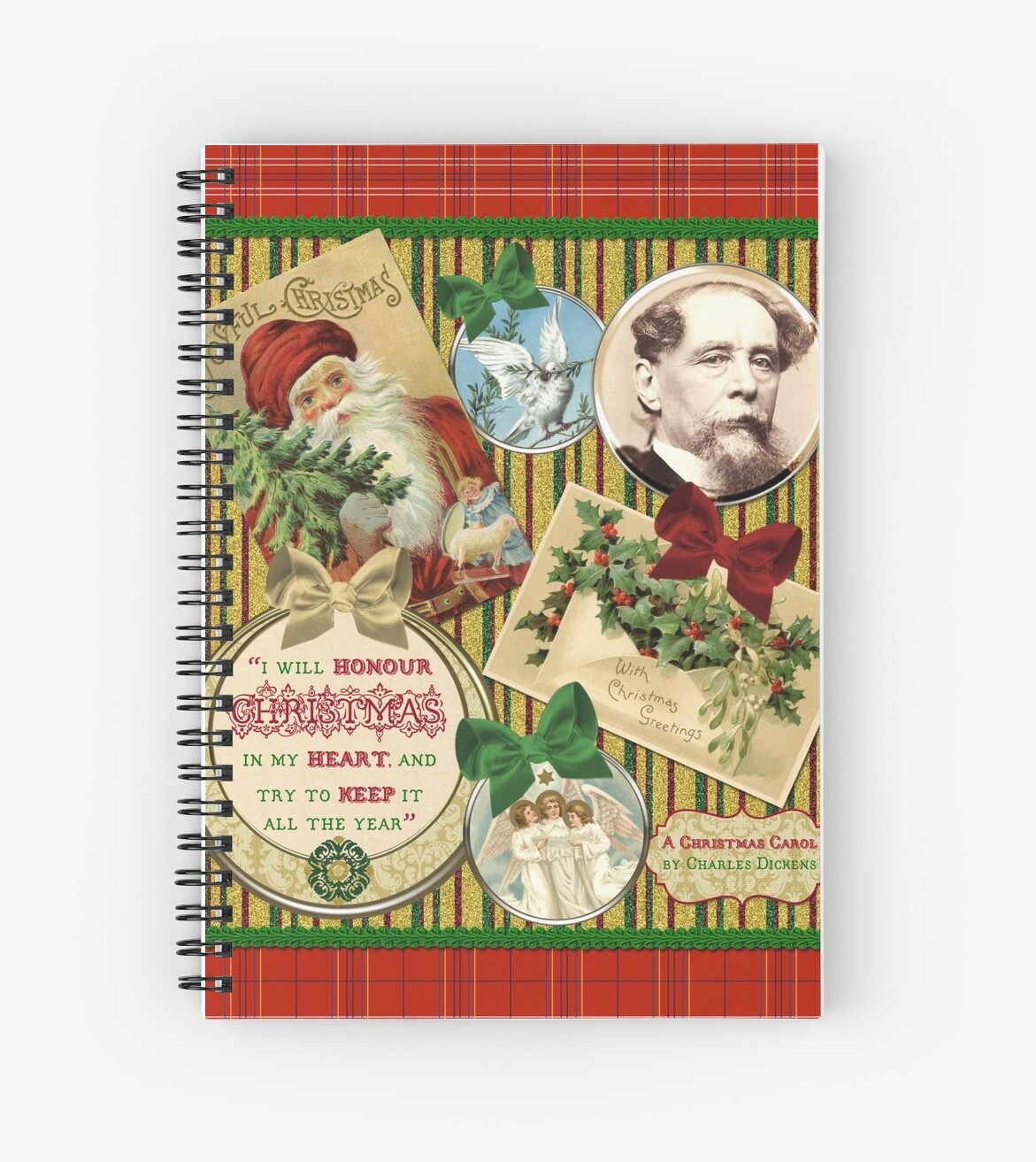 Christmas Carol Charles Dickens Traditional Plaid Classic Quote by Beverly Claire Kaiya
