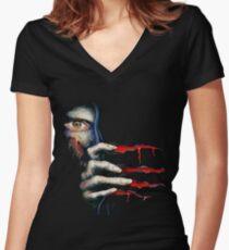 Capcom Resident Evil 2 Classic RARE Design. 100% Redrawn In Adobe Ilustrator Vector Format. Women's Fitted V-Neck T-Shirt