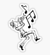 Pedestrian playing the trumpet Sticker