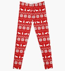 Norwich Terrier Silhouettes Christmas Sweater Pattern Leggings