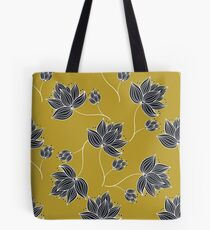 Floral Pattern Gold And Black Tote Bag