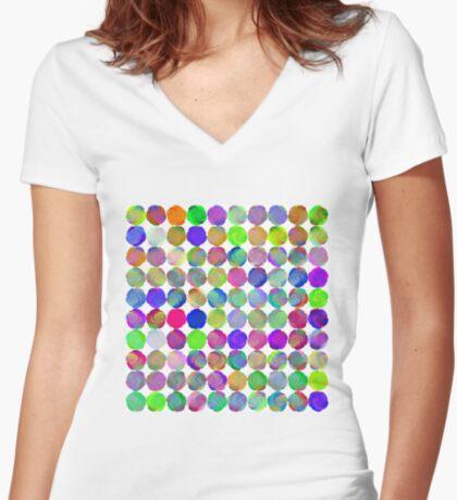 Space snowballs #fractal art Women's Fitted V-Neck T-Shirt