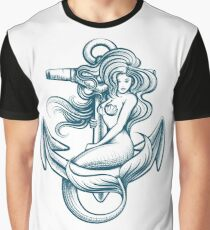 Mermaid on the Anchor Graphic T-Shirt