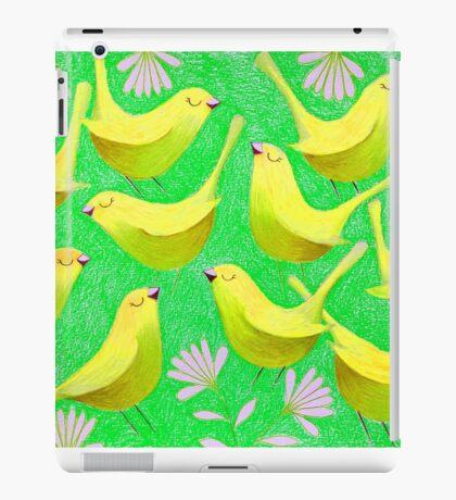 Gold birdies on lime iPad Case/Skin