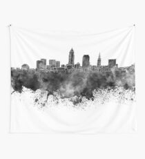 Cleveland skyline in black watercolor on white background Wall Tapestry