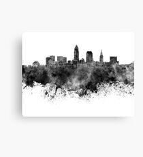 Cleveland-Skyline im schwarzen Aquarell auf weißem Hintergrund Leinwanddruck