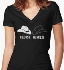 Black Hat or White Hat Women's Fitted V-Neck T-Shirt