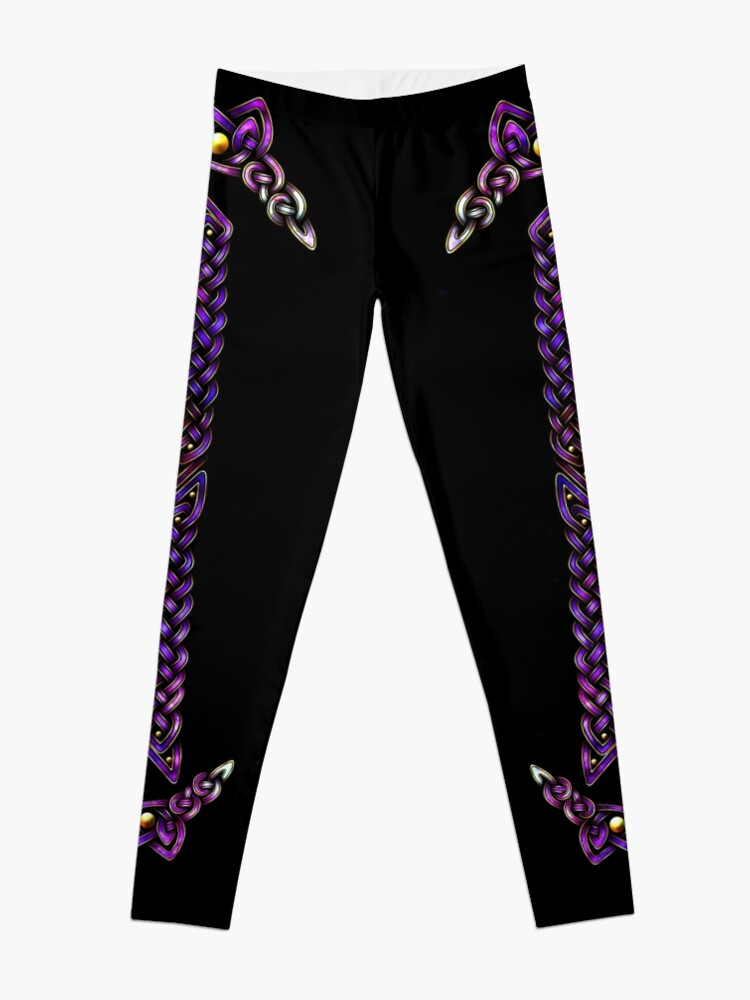 Alternate view of Celtic Knotwork - Gold and Galaxy Leggings