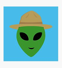Alien with park ranger hat Photographic Print