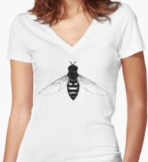 Flying Bee - insect illustration Women's Fitted V-Neck T-Shirt