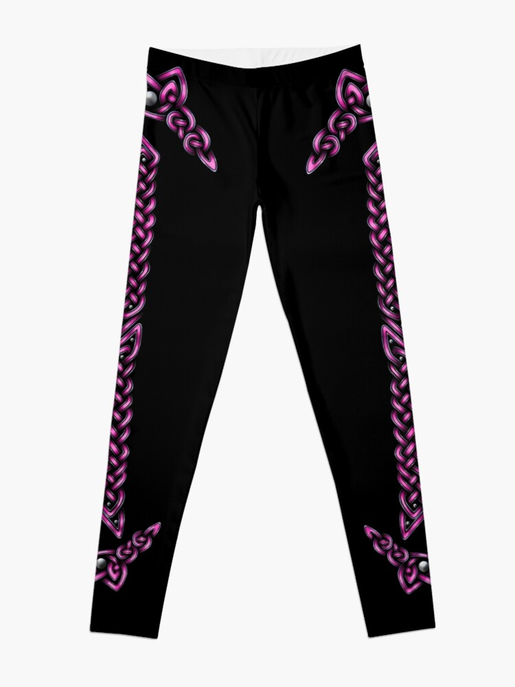 Alternate view of Celtic Knotwork - Silver and Pink Leggings