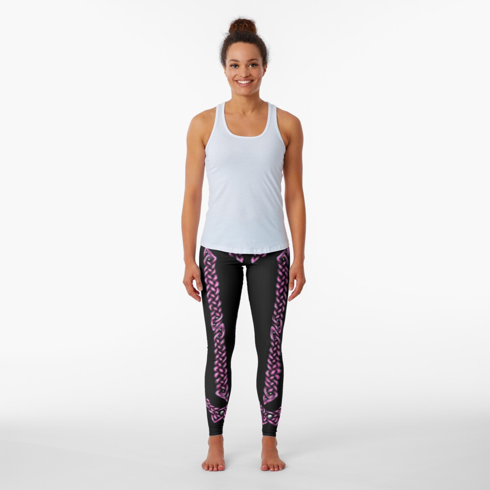 Celtic Knotwork - Silver and Pink Leggings