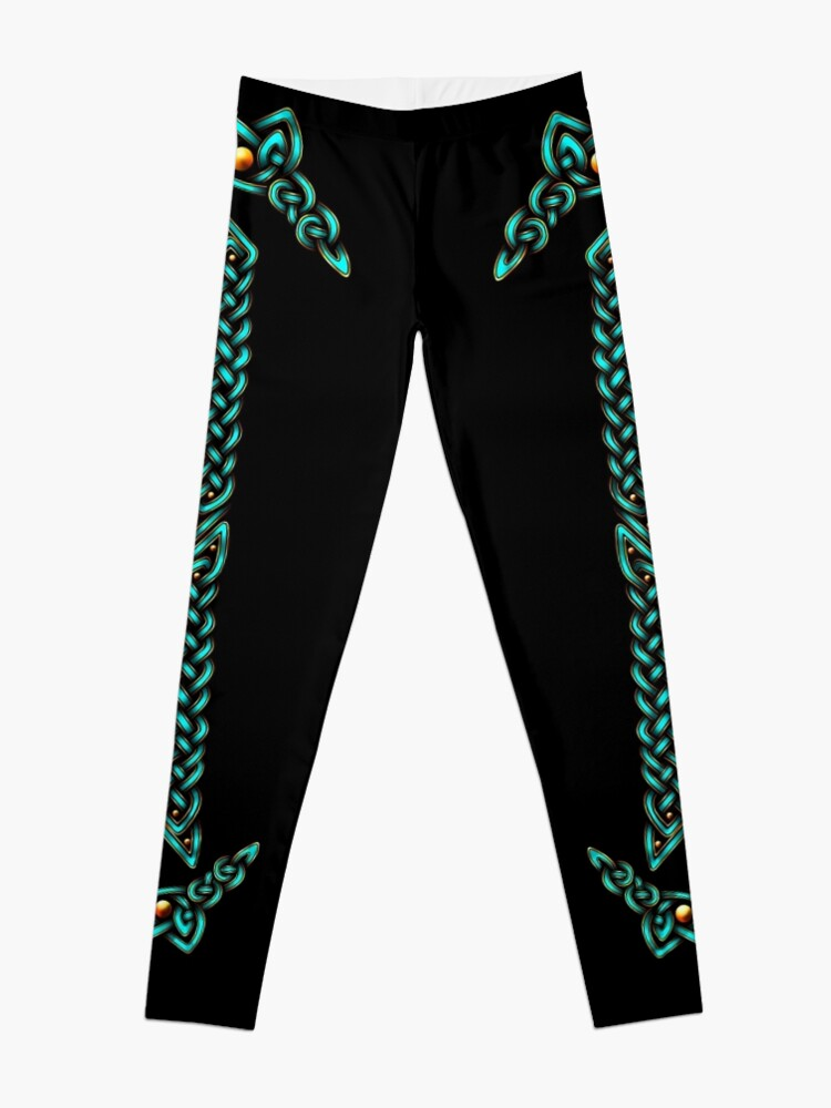 Alternate view of Celtic Knotwork - Gold and Teal Leggings