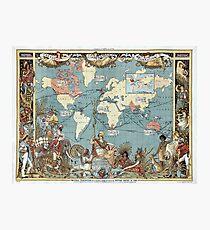 World map-British Empire-1886 Photographic Print