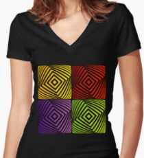 Colorful optical illusion with squares  Women's Fitted V-Neck T-Shirt